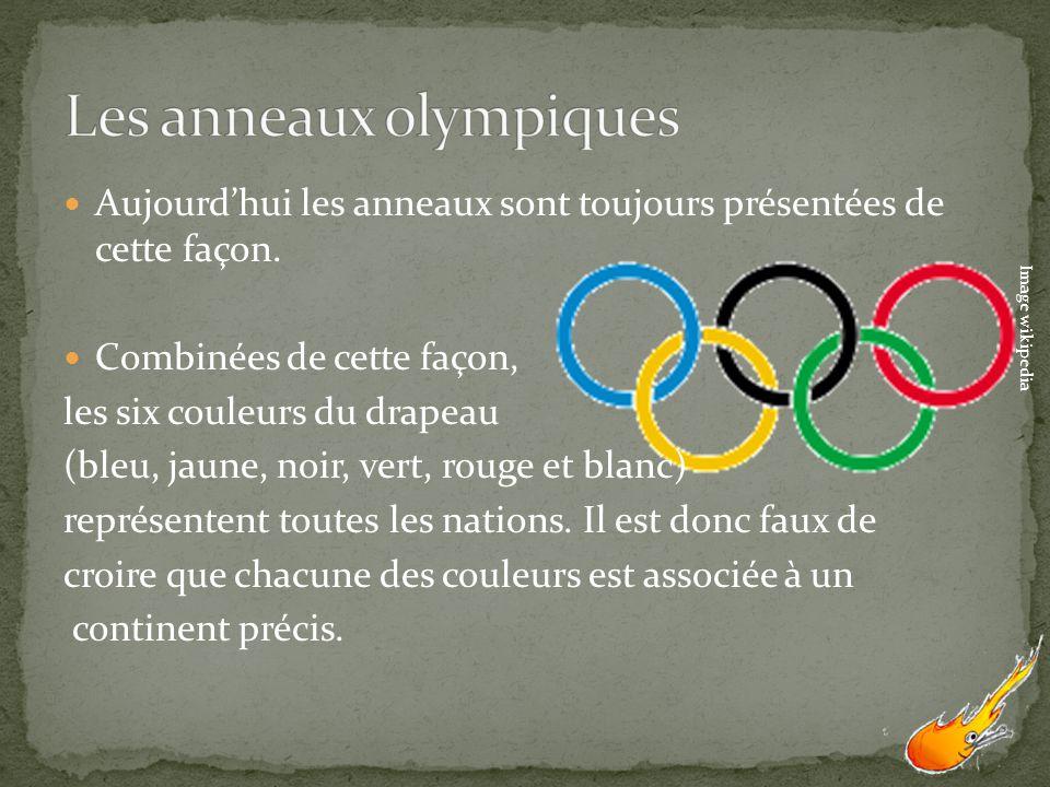 Aujourdhui les anneaux sont toujours présentées de cette façon. Combinées de cette façon, les six couleurs du drapeau (bleu, jaune, noir, vert, rouge