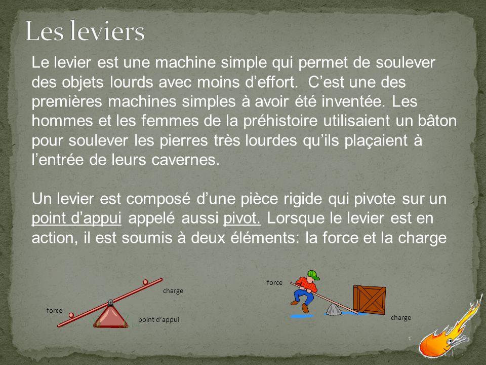 point dappui force charge force Le levier est une machine simple qui permet de soulever des objets lourds avec moins deffort. Cest une des premières m