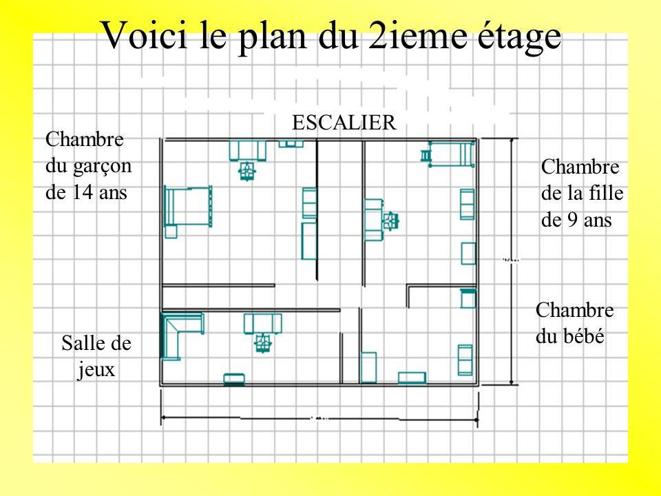 Voici le plan du 2ieme étage Chambre du garçon de 14 ans Salle de jeux Chambre du bébé Chambre de la fille de 9 ans ESCALIER