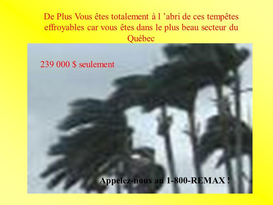 De Plus Vous êtes totalement à l abri de ces tempêtes effroyables car vous êtes dans le plus beau secteur du Québec 239 000 $ seulement Appelez-nous au 1-800-REMAX !