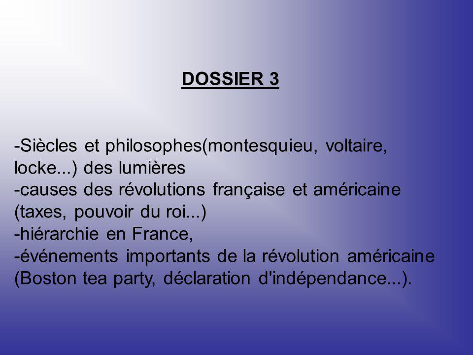 DOSSIER 3 -Siècles et philosophes(montesquieu, voltaire, locke...) des lumières -causes des révolutions française et américaine (taxes, pouvoir du roi