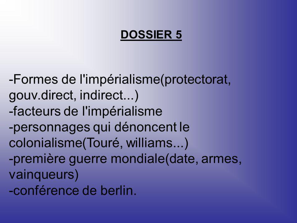 DOSSIER 5 -Formes de l'impérialisme(protectorat, gouv.direct, indirect...) -facteurs de l'impérialisme -personnages qui dénoncent le colonialisme(Tour