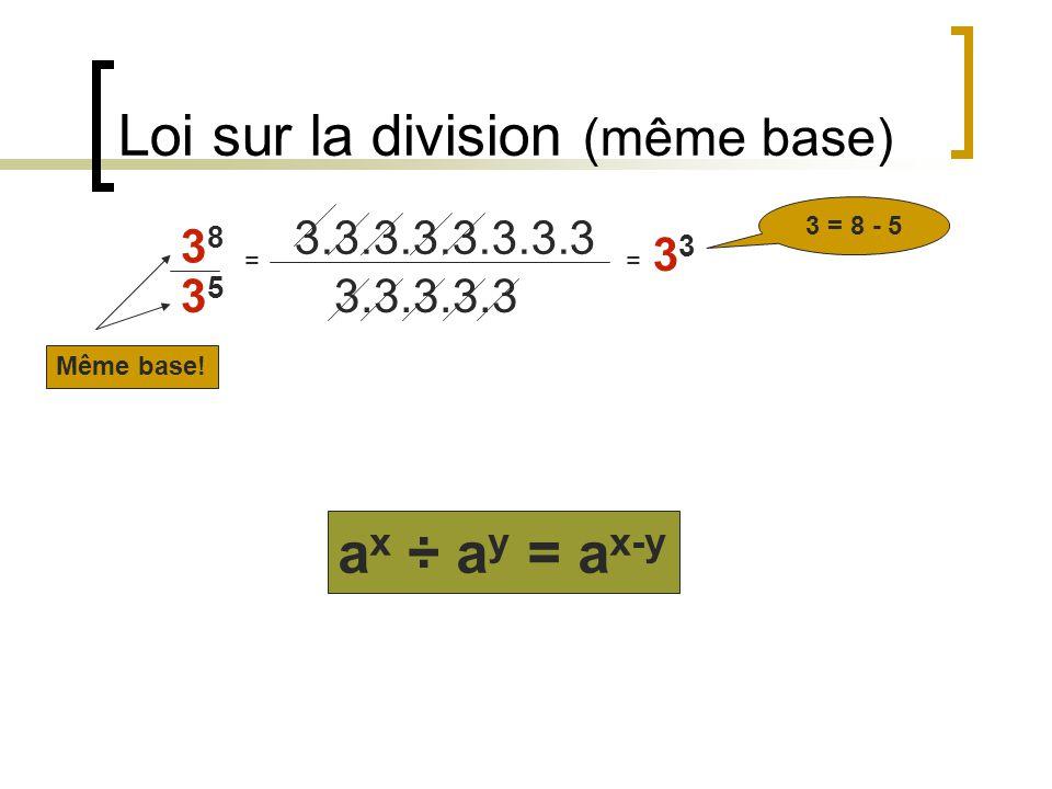 Loi de « lexposant de lexposant » (2 3 ) 4 = (2.2.2).(2.2.2).(2.2.2).(2.2.2)= 2 12 12 = 3.4 (a x ) y = a x.y