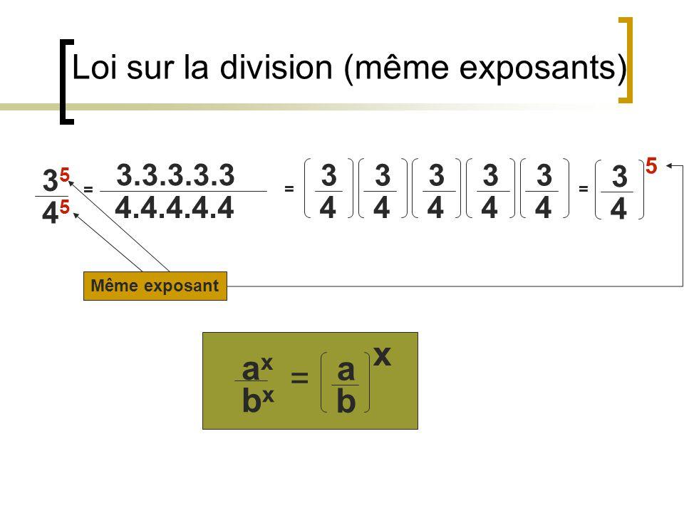 Loi sur la multiplication (même exposants) 2 3.