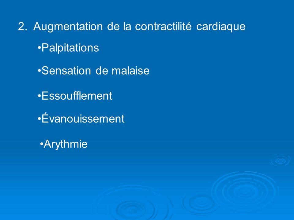 2. Augmentation de la contractilité cardiaque Palpitations Sensation de malaise Essoufflement Évanouissement Arythmie