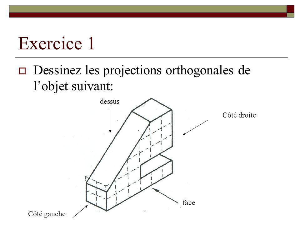 Exercice 1 Dessinez les projections orthogonales de lobjet suivant: face Côté droite Côté gauche dessus