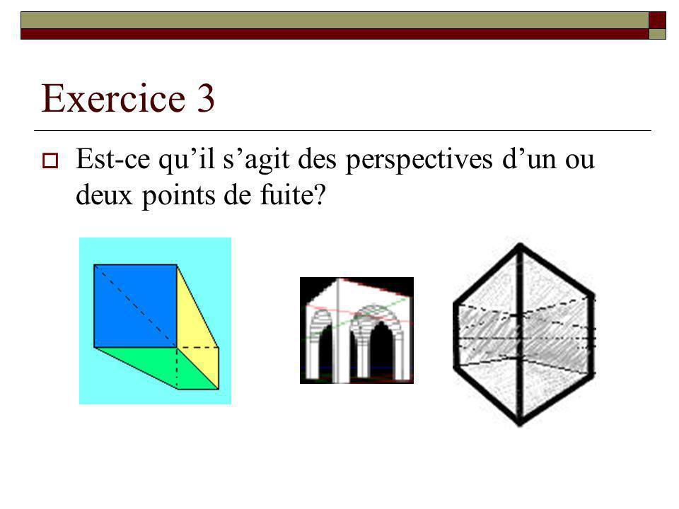 Exercice 3 Est-ce quil sagit des perspectives dun ou deux points de fuite?