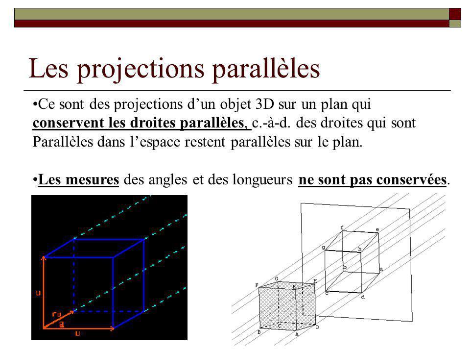 Les projections parallèles Ce sont des projections dun objet 3D sur un plan qui conservent les droites parallèles, c.-à-d.