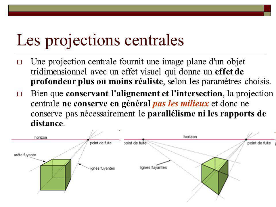 Les projections centrales Une projection centrale fournit une image plane d un objet tridimensionnel avec un effet visuel qui donne un effet de profondeur plus ou moins réaliste, selon les paramètres choisis.