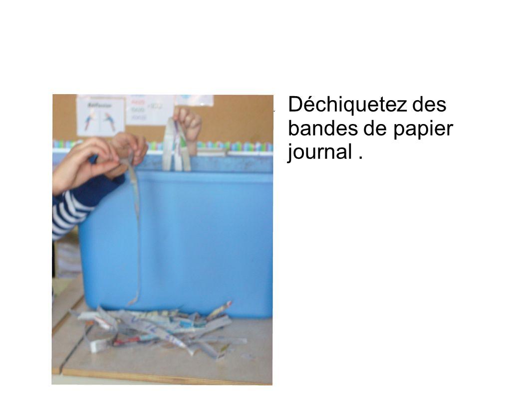 Déchiquetez des bandes de papier journal.