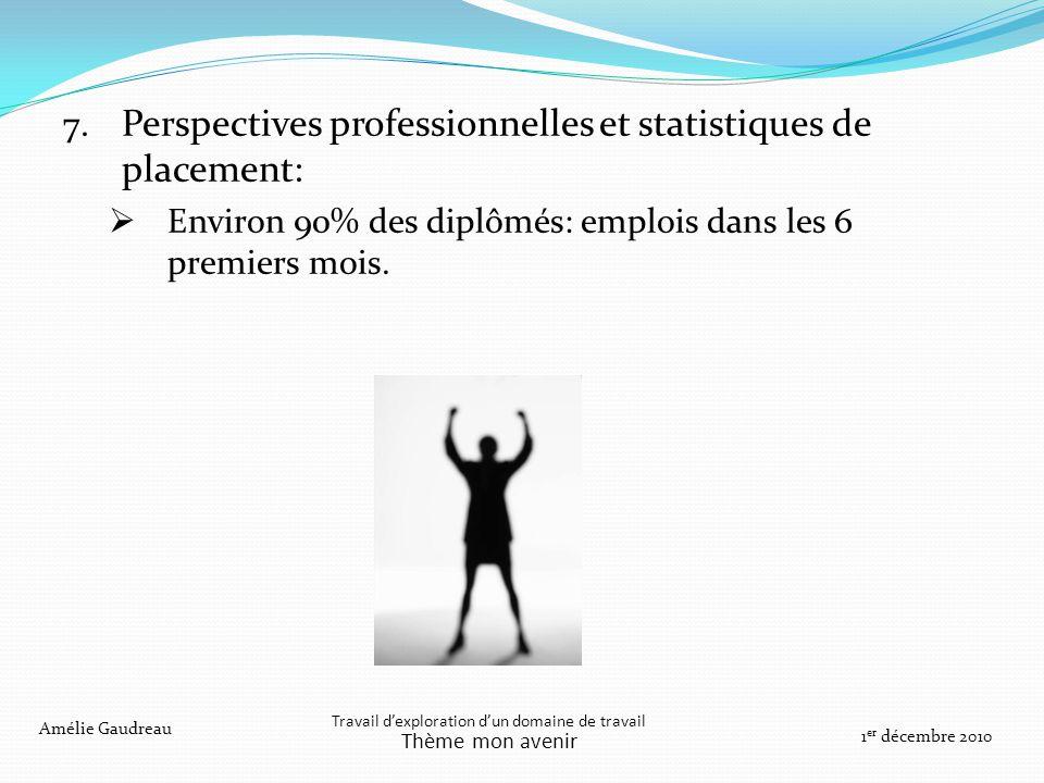 7. Perspectives professionnelles et statistiques de placement: Environ 90% des diplômés: emplois dans les 6 premiers mois. Travail dexploration dun do