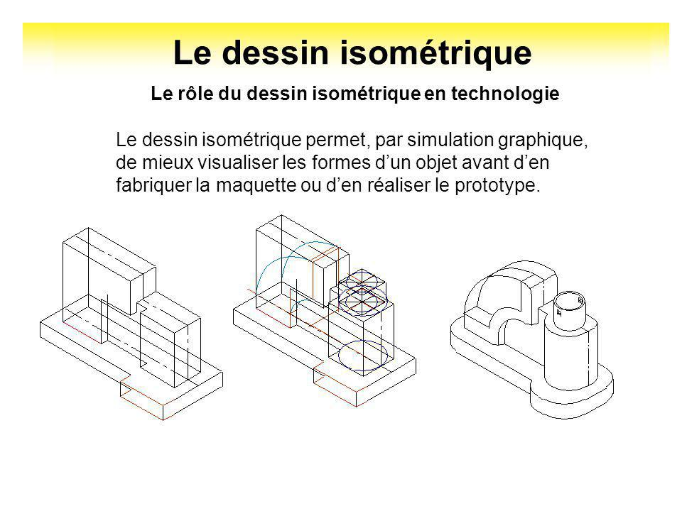 Le dessin isométrique Le rôle du dessin isométrique en technologie Pour les personnes peu familières avec le dessin technique, le dessin isométrique e