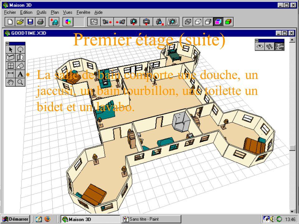 Le premier étage Le premier niveau comporte quatre chambres, un salon, et une salle d eau. La chambre des maîtres est au nord-ouest, la chambre du béb