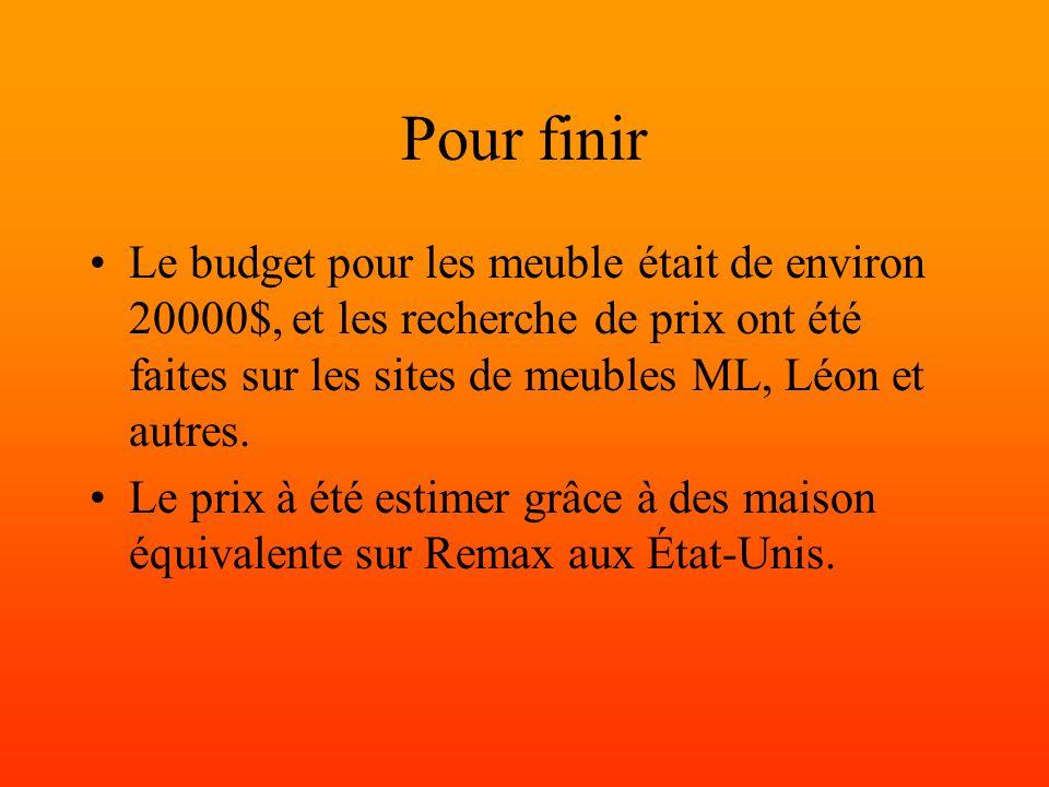 Pour finir Le budget pour les meuble était de environ 20000$, et les recherche de prix ont été faites sur les sites de meubles ML, Léon et autres.