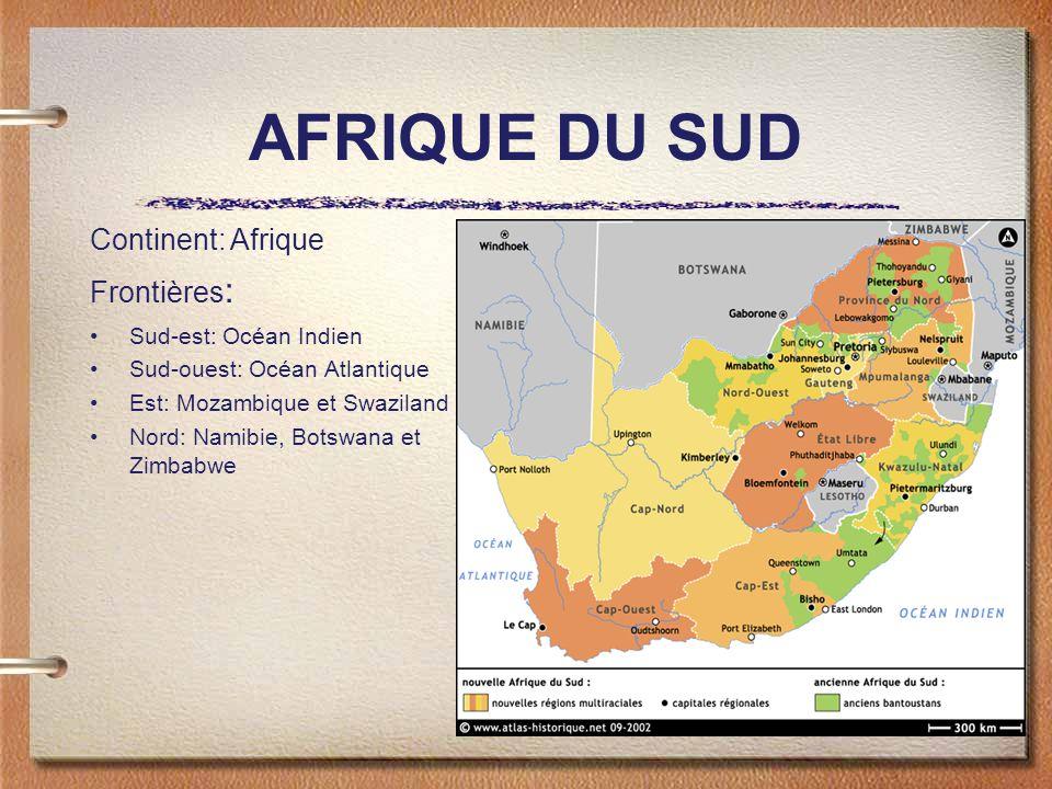 AFRIQUE DU SUD Sud-est: Océan Indien Sud-ouest: Océan Atlantique Est: Mozambique et Swaziland Nord: Namibie, Botswana et Zimbabwe Continent: Afrique Frontières :