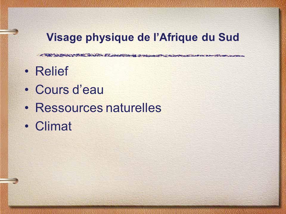 Visage physique de lAfrique du Sud Relief Cours deau Ressources naturelles Climat