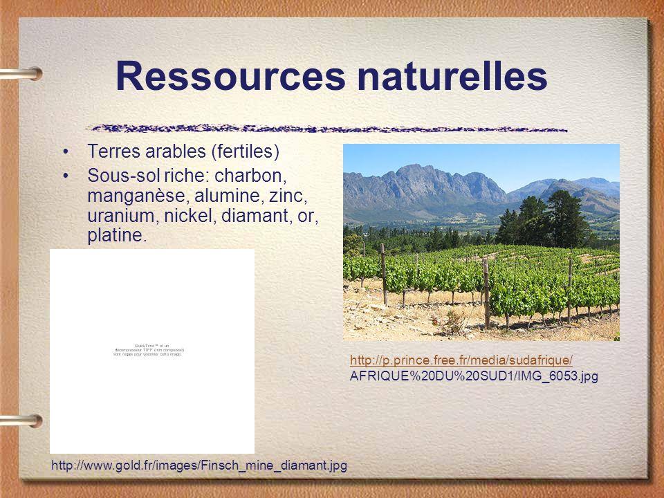 Ressources naturelles Terres arables (fertiles) Sous-sol riche: charbon, manganèse, alumine, zinc, uranium, nickel, diamant, or, platine.