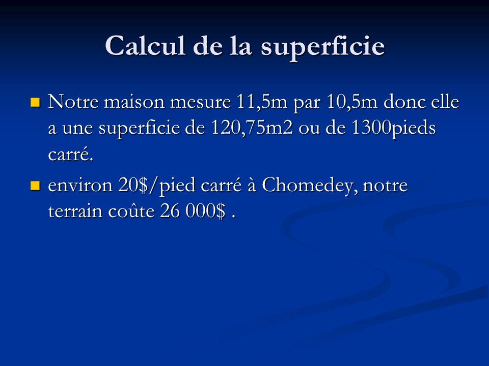 Calcul de la superficie Notre maison mesure 11,5m par 10,5m donc elle a une superficie de 120,75m2 ou de 1300pieds carré.