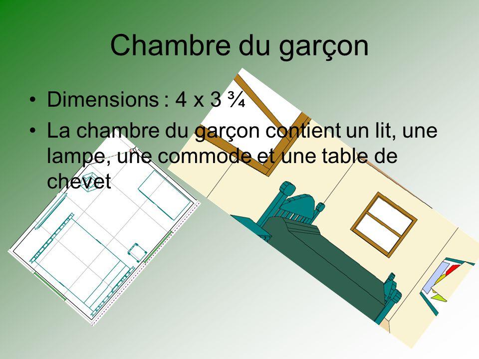 Chambre du garçon Dimensions : 4 x 3 ¾ La chambre du garçon contient un lit, une lampe, une commode et une table de chevet