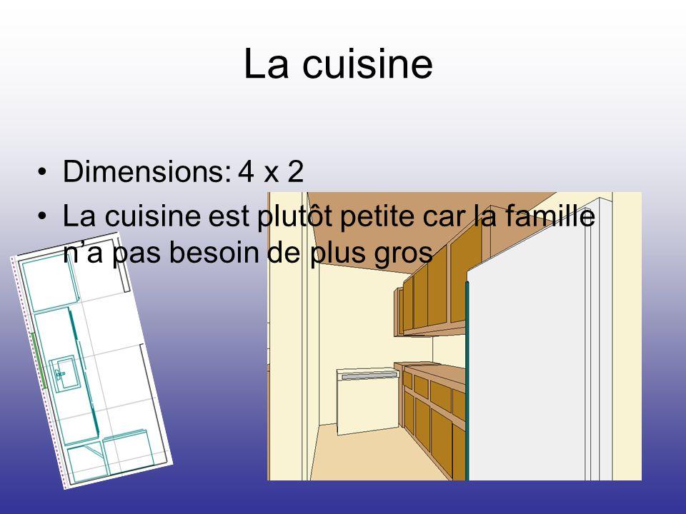 La cuisine Dimensions: 4 x 2 La cuisine est plutôt petite car la famille na pas besoin de plus gros