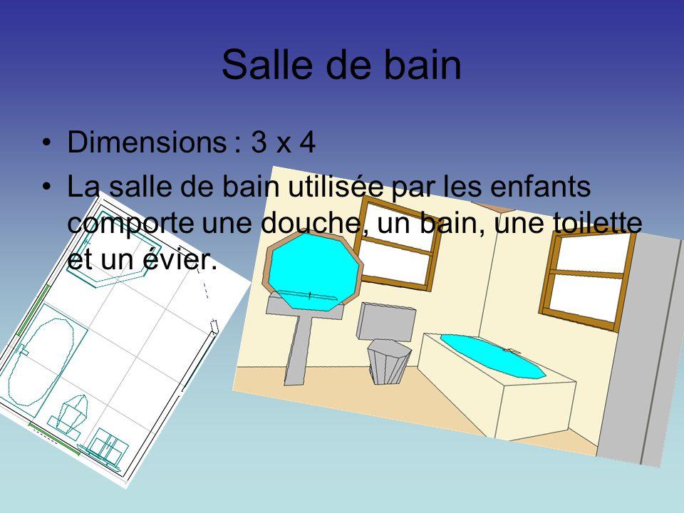 Salle de bain Dimensions : 3 x 4 La salle de bain utilisée par les enfants comporte une douche, un bain, une toilette et un évier.