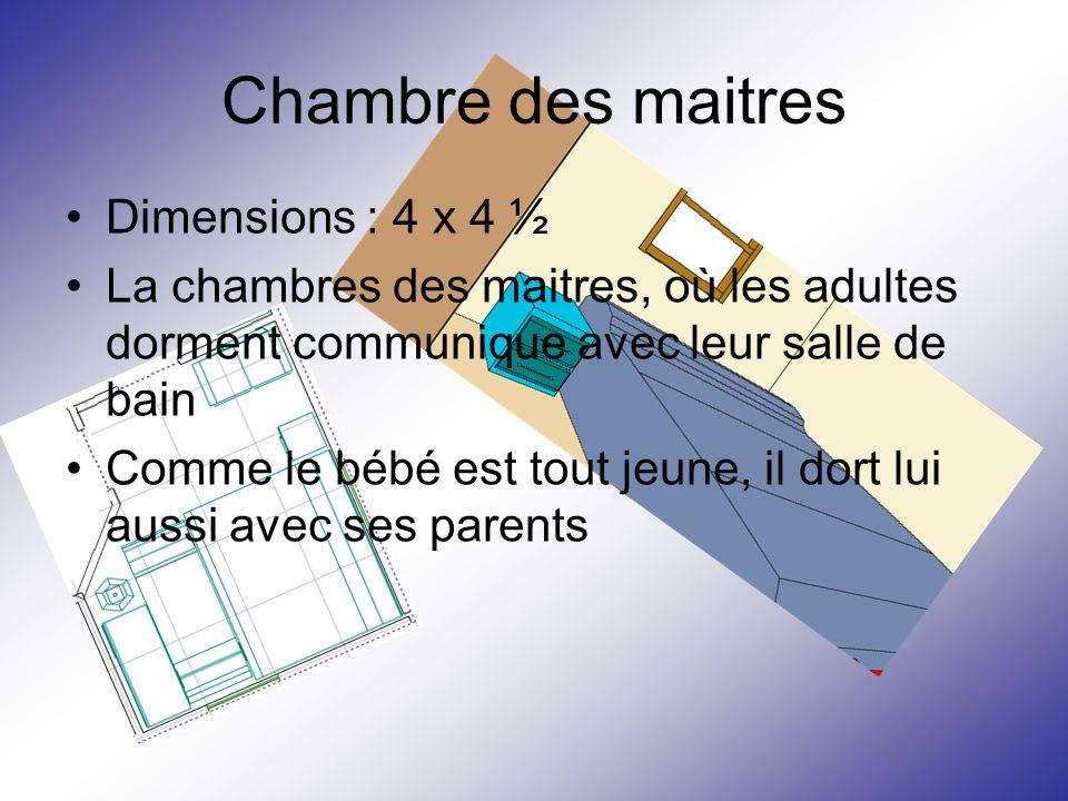 Chambre des maitres Dimensions : 4 x 4 ½ La chambres des maitres, où les adultes dorment communique avec leur salle de bain Comme le bébé est tout jeu