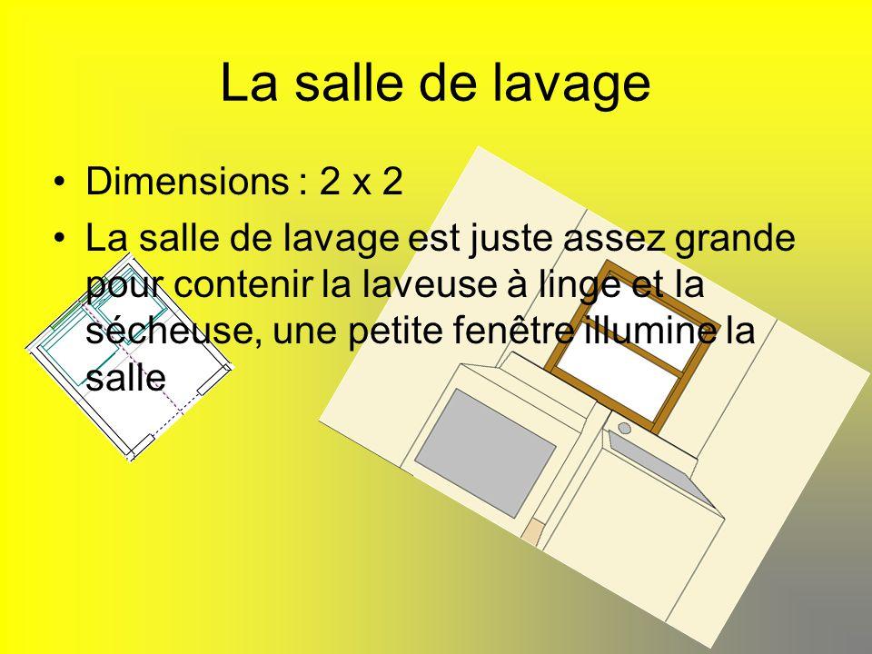 La salle de lavage Dimensions : 2 x 2 La salle de lavage est juste assez grande pour contenir la laveuse à linge et la sécheuse, une petite fenêtre il