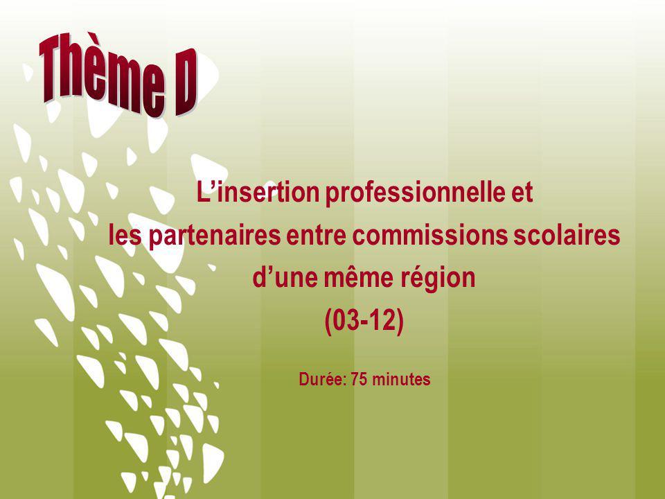 Linsertion professionnelle et les partenaires entre commissions scolaires dune même région (03-12) Durée: 75 minutes