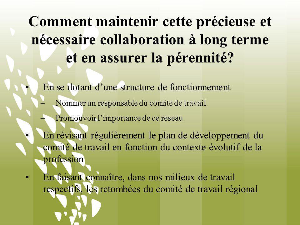 Comment maintenir cette précieuse et nécessaire collaboration à long terme et en assurer la pérennité? En se dotant dune structure de fonctionnement –