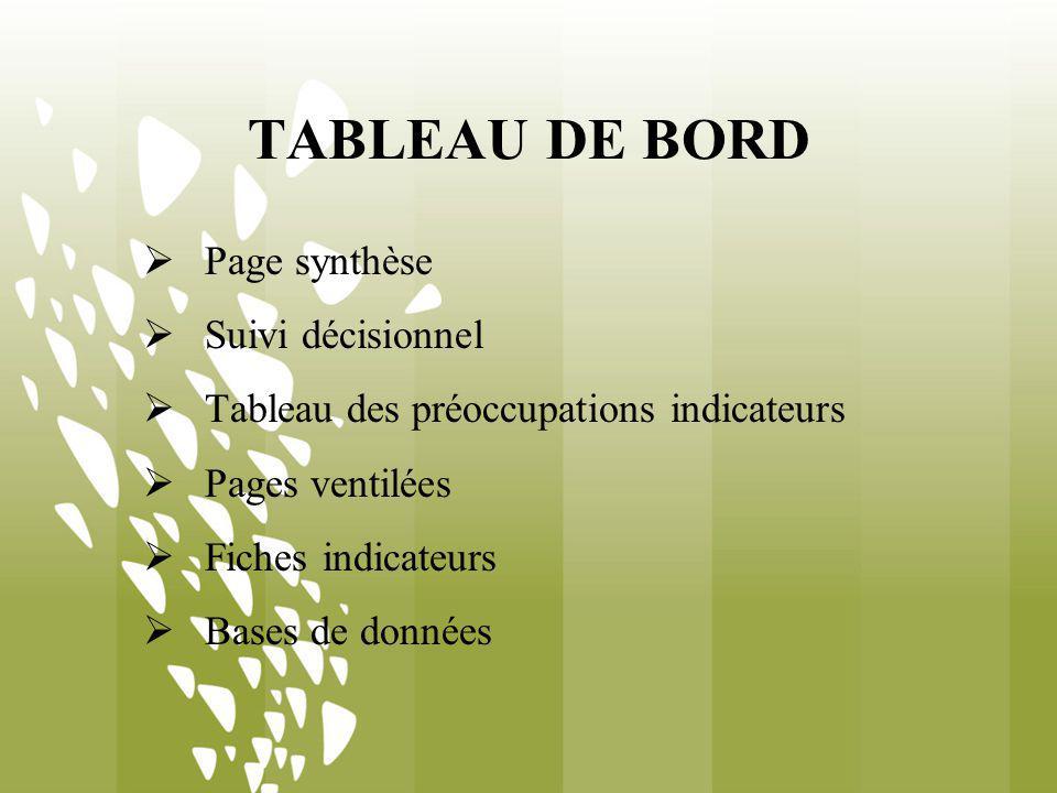 TABLEAU DE BORD Page synthèse Suivi décisionnel Tableau des préoccupations indicateurs Pages ventilées Fiches indicateurs Bases de données