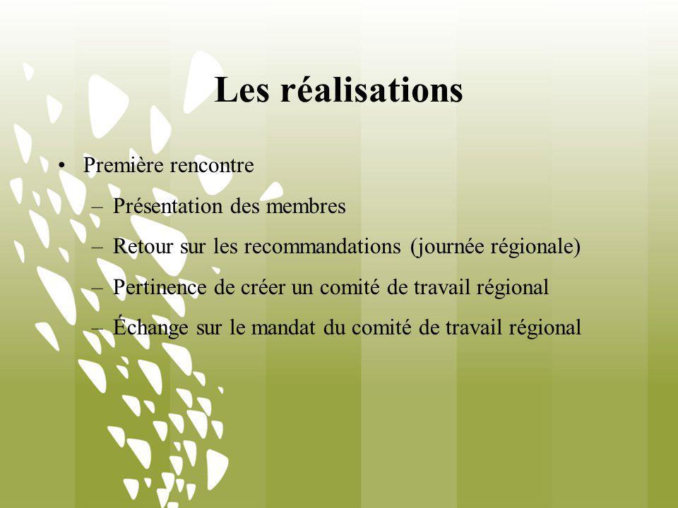 Les réalisations Première rencontre –Présentation des membres –Retour sur les recommandations (journée régionale) –Pertinence de créer un comité de travail régional –Échange sur le mandat du comité de travail régional