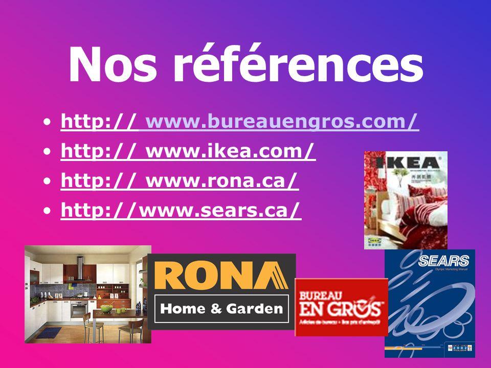 Nos références http:// www.bureauengros.com/ www.bureauengros.com/ http:// www.ikea.com/ http:// www.rona.ca/ http://www.sears.ca/