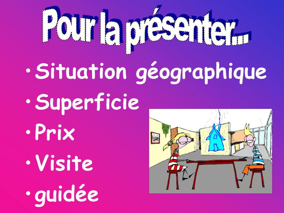 Situation géographique Superficie Prix Visite guidée