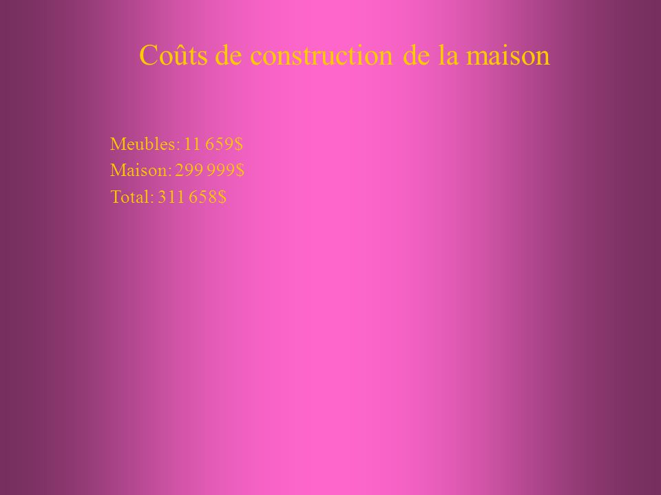 Coûts de construction de la maison Meubles: 11 659$ Maison: 299 999$ Total: 311 658$