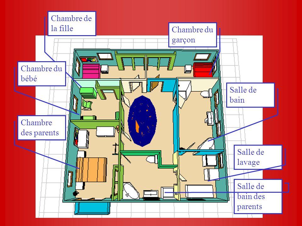 Chambre de la fille Chambre du garçon Salle de bain Salle de lavage Salle de bain des parents Chambre du bébé Chambre des parents