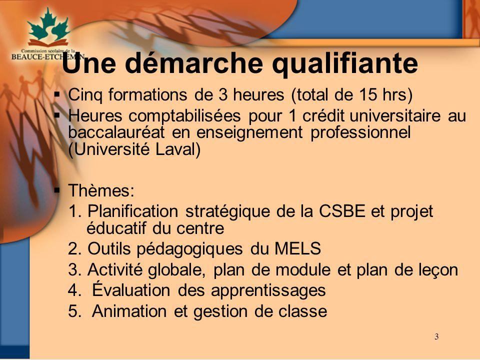 3 Une démarche qualifiante Cinq formations de 3 heures (total de 15 hrs) Heures comptabilisées pour 1 crédit universitaire au baccalauréat en enseigne