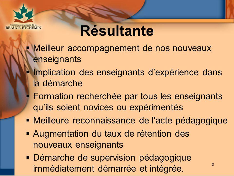 8 Résultante Meilleur accompagnement de nos nouveaux enseignants Implication des enseignants dexpérience dans la démarche Formation recherchée par tou