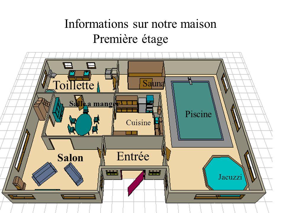 Informations sur notre maison Première étage Piscine Sauna Jacuzzi Cuisine Salle a manger Salon Entrée Toillette