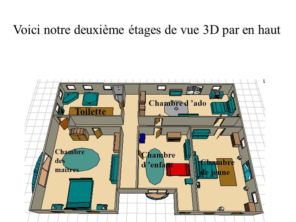 Voici notre deuxième étages de vue 3D par en haut Chambre des maîtres Chambre d enfant Chambre de jeune Chambre d ado Toilette