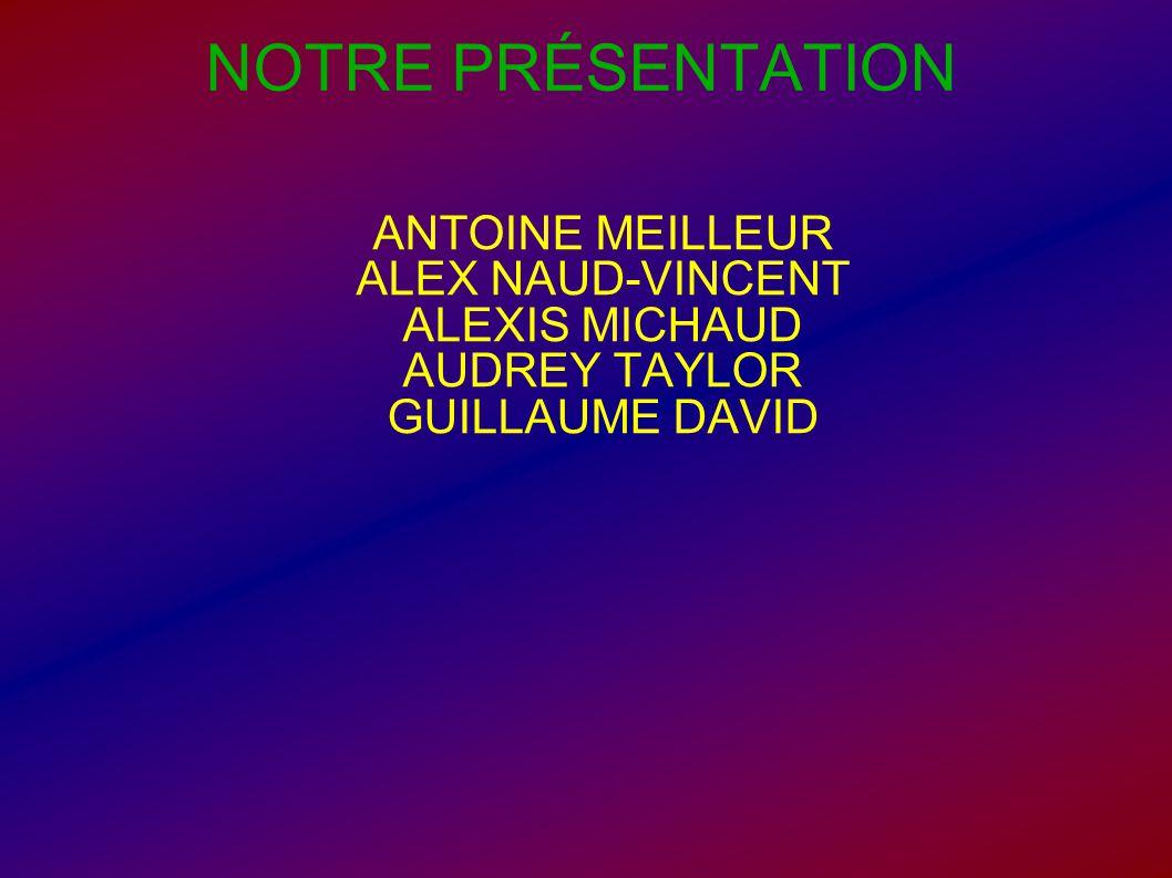 NOTRE PRÉSENTATION ANTOINE MEILLEUR ALEX NAUD-VINCENT ALEXIS MICHAUD AUDREY TAYLOR GUILLAUME DAVID