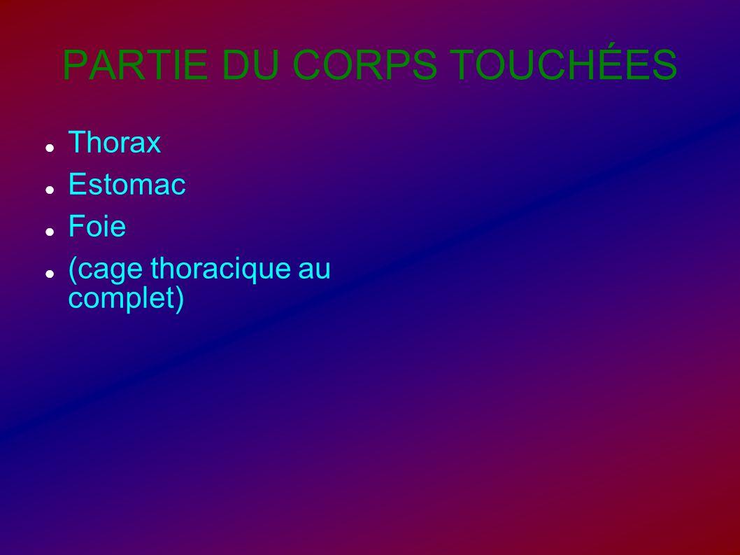 PARTIE DU CORPS TOUCHÉES Thorax Estomac Foie (cage thoracique au complet)