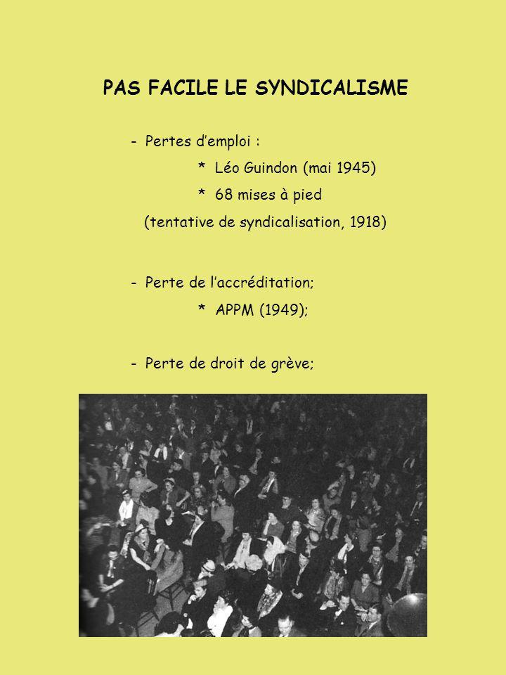 PAS FACILE LE SYNDICALISME - Pertes demploi : * Léo Guindon (mai 1945) * 68 mises à pied (tentative de syndicalisation, 1918) - Perte de laccréditatio