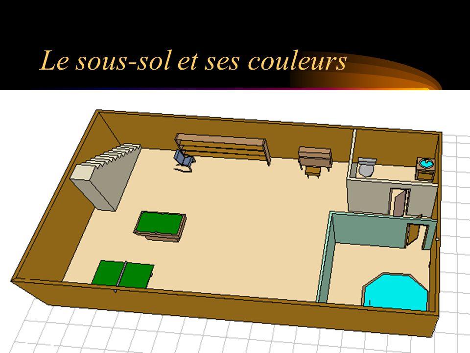 Le 1er étage; plan piscine serre Garage avec auto et moto Balançoire Terrasse Cuisine Salle à manger Salle de bain Bureau Salon