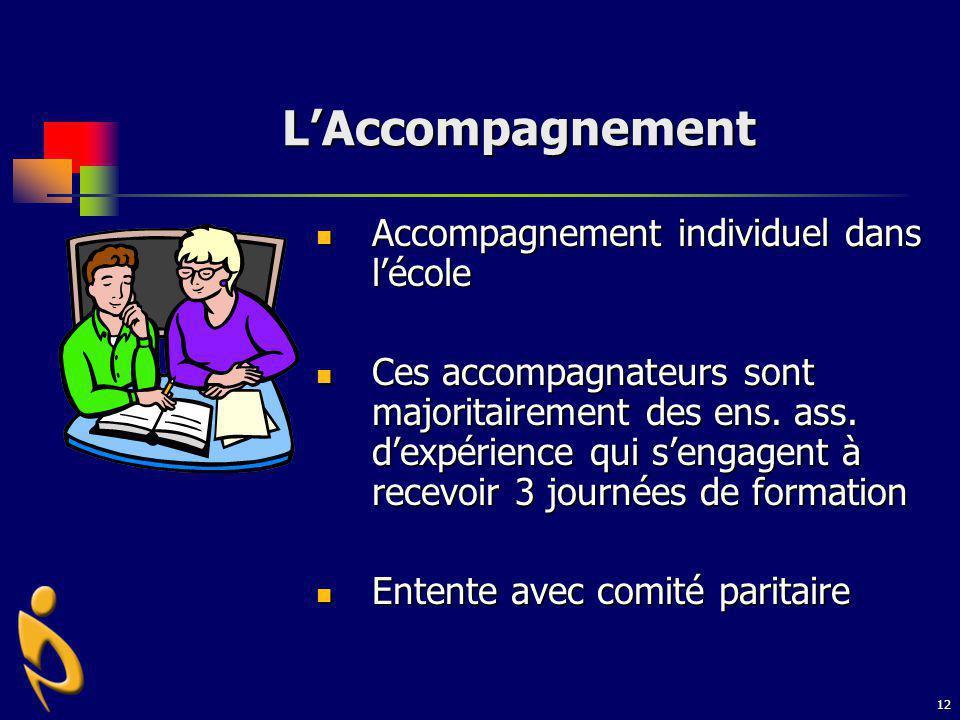 12 LAccompagnement Accompagnement individuel dans lécole Accompagnement individuel dans lécole Ces accompagnateurs sont majoritairement des ens. ass.