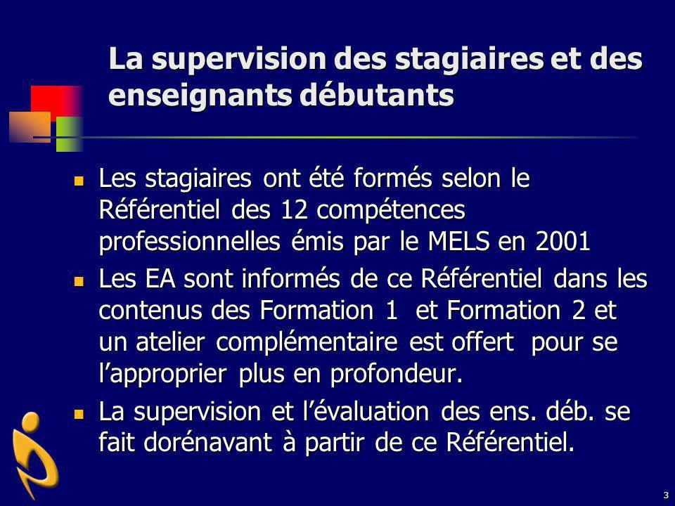 4 Appropriation des 12 compétences Les EA sont informés de ce Référentiel dans les contenus des Formation 1 et Formation 2 et un atelier complémentaire est offert pour se lapproprier plus en profondeur.