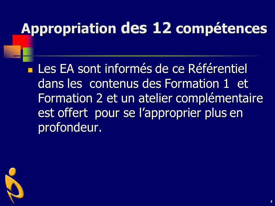 4 Appropriation des 12 compétences Les EA sont informés de ce Référentiel dans les contenus des Formation 1 et Formation 2 et un atelier complémentair