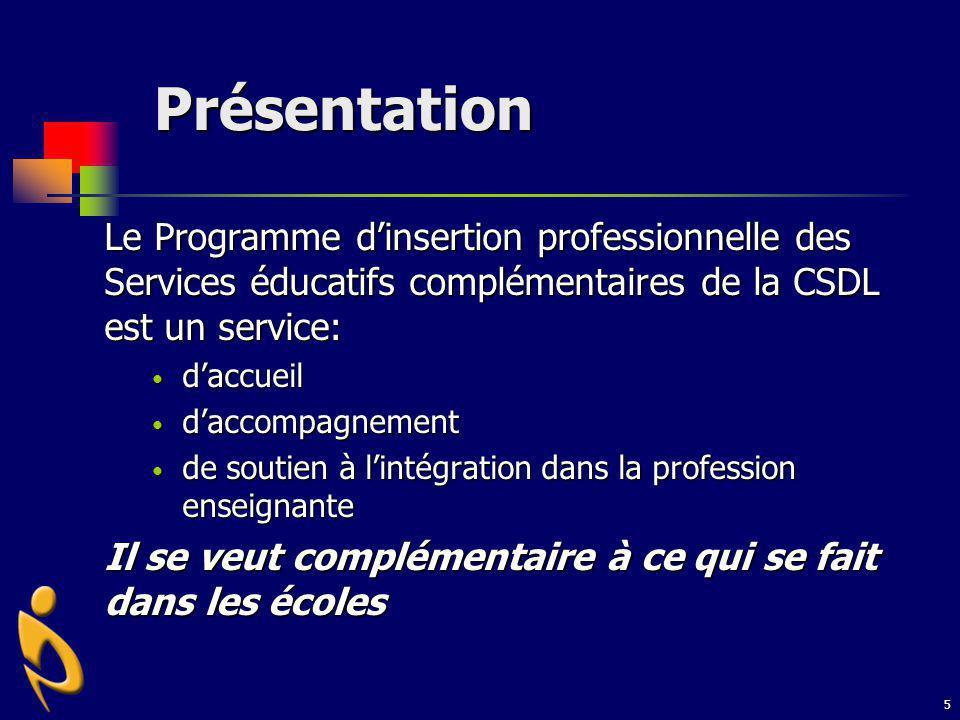 5 Présentation Le Programme dinsertion professionnelle des Services éducatifs complémentaires de la CSDL est un service: daccueil daccueil daccompagne