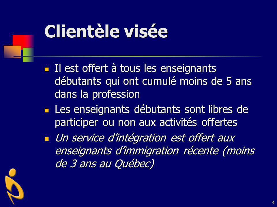 7 VOLET 1 : Activités en présence Trousse daccueil Accompagnement Ateliers de formation Service personnalisé daccompagnement (SPA) Soutien aux enseignants dimmigration récente (EIR)