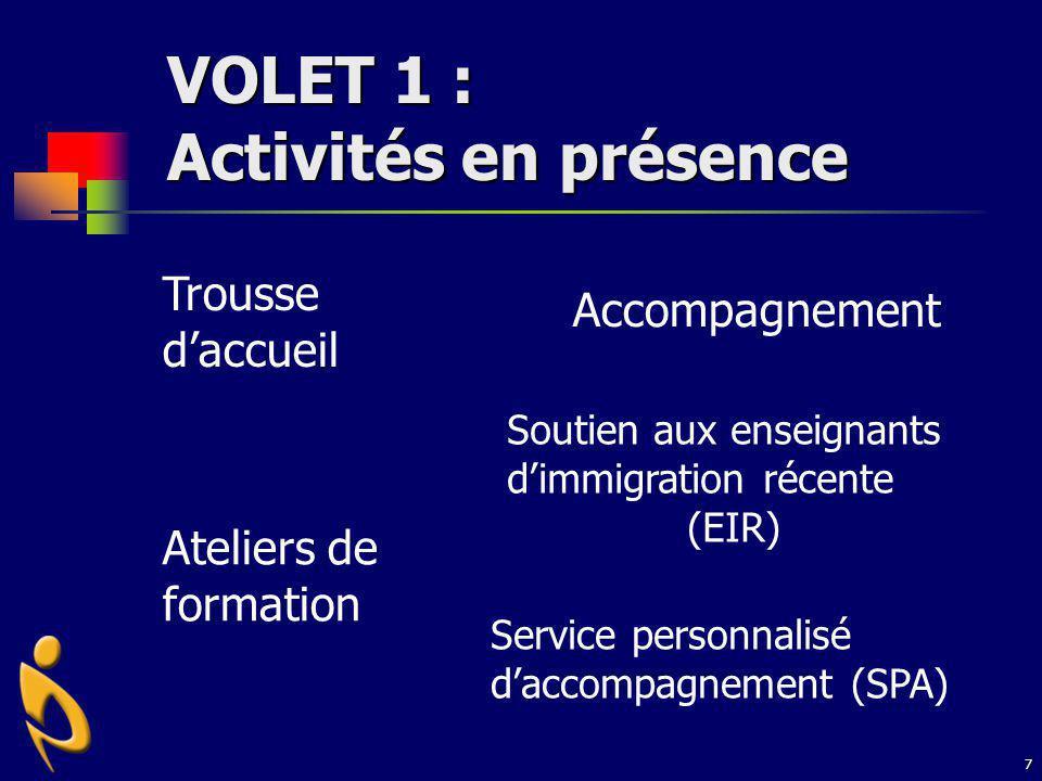 7 VOLET 1 : Activités en présence Trousse daccueil Accompagnement Ateliers de formation Service personnalisé daccompagnement (SPA) Soutien aux enseign
