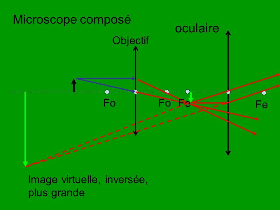 Microscope composé Fo Objectif oculaire Fo Fe Image virtuelle, inversée, plus grande